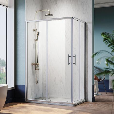 Cabine de douche avec receveur de douche portes coulissantes installation réversible 80/90x120x185 cm