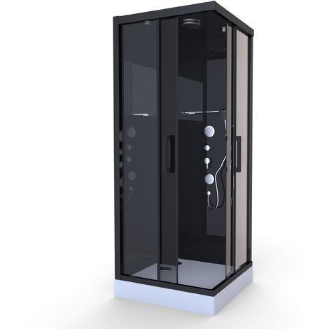 Cabine de Douche Black Mirror Carrée Noir