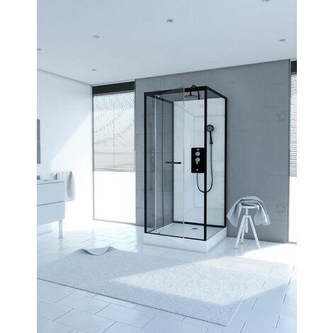 Cabine de douche carrée 110x80x230cm - extra blanc et profilé noir mat - LUNAR SQUARE 110