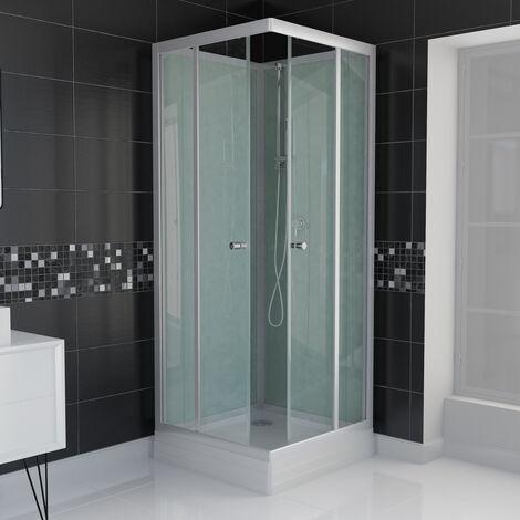 Cabine de douche carrée porte coulissantes 80x80x210 + Receveur blanc