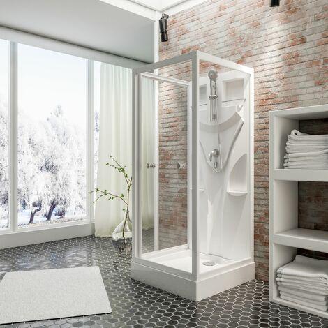Cabine de douche intégrale, verre de sécurité 5 mm, cabine de douche complète, blanc alpin, Juist, Schulte, 80 x 80 x 190 cm