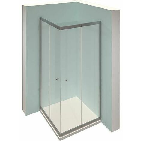 Cabine de douche d´angle, 2 portes coulissantes et 2 éléments fixes en verre, Alpha 2