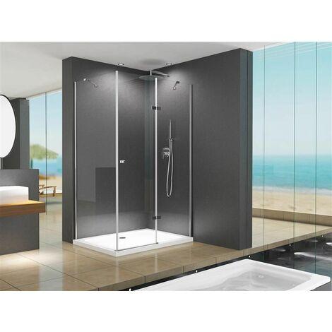 Cabine de douche d'angle / de douche / Anna 120 x 90 x 195 cm / 8 mm / verre clair, sans bac à douche.