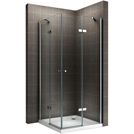 Cabine de douche d'angle - Hauteur 180 cm - verre transparent