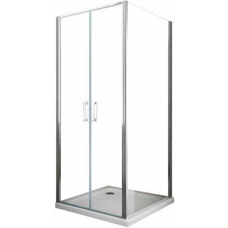 Cabine de douche de 6 millimètres angulaire avec deux faces H.190 un mur fixe lateral et un porte central vantail type saloon