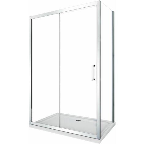 Cabine de douche de 6 millimètres angulaire avec deux faces H.190 un mur fixe lateral et une porte coulissant
