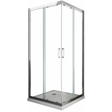 cabine de douche de 6 millimètres anguler carrè avec profil chromé et réversible