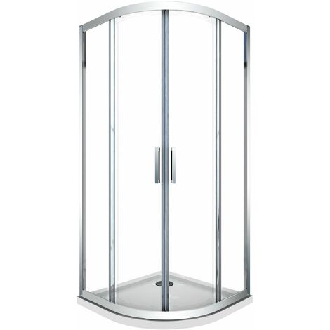 cabine de douche de 6 millimètres anguler semi-circulaire avec profil chromé et réversible