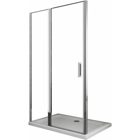 Cabine de douche de 6 millimètres overture à battant H.190 avec petit mur et porte vantail dans la même ligne