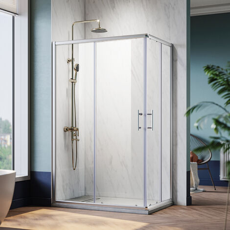 Cabine de douche Différents Tailles Hauteur 185cm Cabine carrées d'angle Verre 6mm Installation Réversible Portes coulissantes