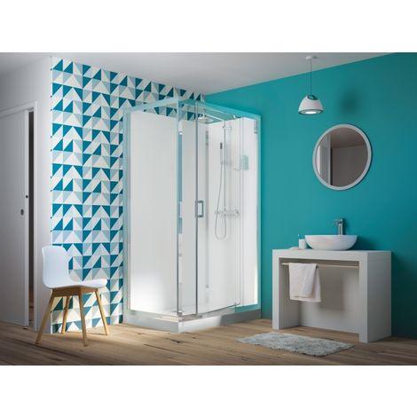 Cabine de douche EDEN faible hauteur - Porte pivotante - 100x80cm