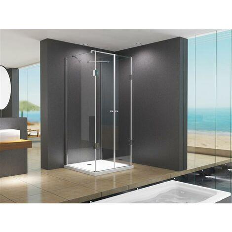 Cabine de douche en forme U Emma 80x90x195cm / 8 mm / en verre sans receveur de douche, salle de bain.