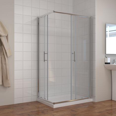 Cabine de douche Entrée d'angle Portes coulissantes avec receveur de douche