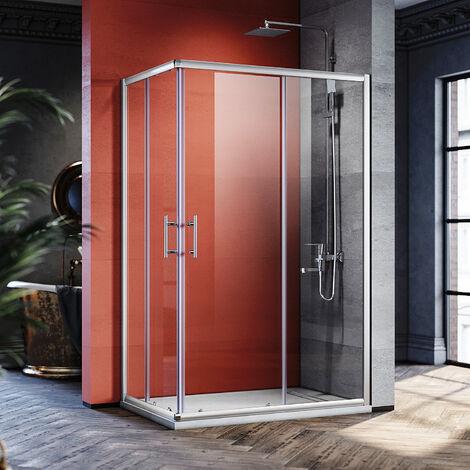Cabine de douche Entrée d'angle Réversible Verre trempé 6mm Profilé en alu Portes coulissantes extensibles
