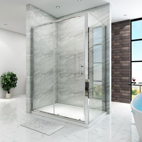 Cabine de douche extensible et coulissante, porte + paroi latérale, verre trempé 5mm diverses dimensions au choix