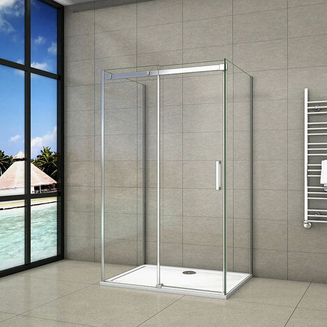 Cabine de douche forme en U en 8mm verre anticalcaire une porte de douche coulissante et 2x paroi de douche latérale