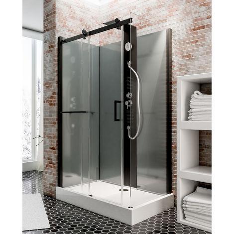 Cabine de douche intégrale 120 x 80 cm, cabine de douche complète hydromassante, porte coulissante, jets de massage, couleur noire-gris, Korsika, Schulte