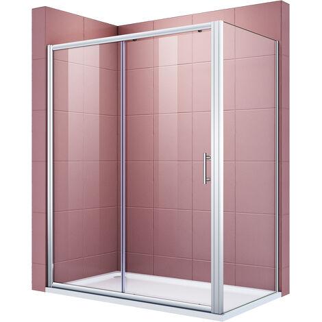 Cabine de douche integrale 130x80x185 cm verre trempé cadre en aluminium porte coulissante extensible installation réversible avec porte latérale