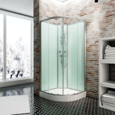Cabine de douche intégrale 90 x 90 cm, verre 5 mm, cabine de douche complète arrondie, Ibiza, Schulte - Transparent