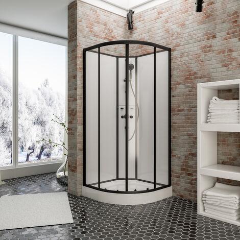 Cabine de douche intégrale 90 x 90 cm, verre 5 mm, cabine de douche complète arrondie Tahiti, Schulte - Transparent