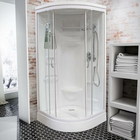 Cabine de douche intégrale arrondie, 90 x 90 cm, cabine de douche complète, coloris blanc, Helgoland III, Schulte