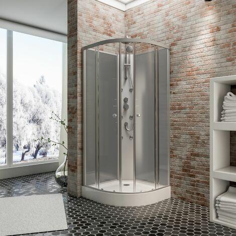 Cabine de douche intégrale arrondie Rhodos, 85 x 85 x 225 cm, verre de sécurité transparent 4 mm, face arrière noir, profilés alu nature, portes coulissantes, cabine de douche complète Schulte