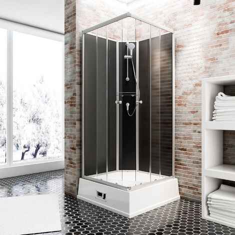 Cabine de douche intégrale avec chauffe-eau, 94 x 110 x 215 cm, verre de sécurité, Korfu II Schulte cabine de douche complète