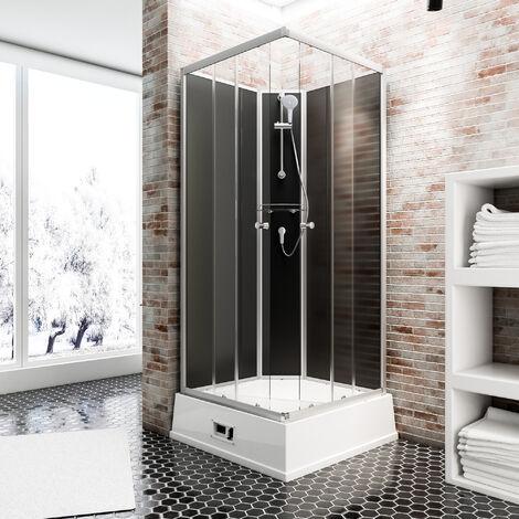 Cabine de douche intégrale avec chauffe-eau, 94 x 110 x 215 cm, verre de sécurité, Korfu II Schulte cabine de douche complète, noir