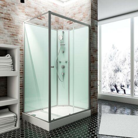 Cabine de douche intégrale avec porte coulissante, verre 5 mm, cabine de douche complète Ibiza,Schulte, 90 x 160 cm, paroi latérale à droite, ouverture vers la gauche