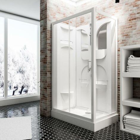 Cabine de douche intégrale Malta, 120 x 80 x 210 cm, cabine de douche complète Schulte, verre de sécurité transparent 5 mm, face arrière et profilés blancs - Transparent