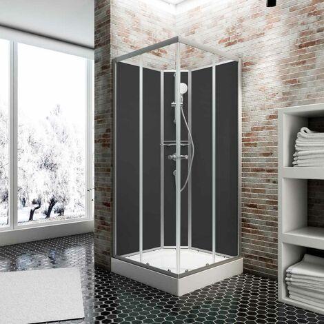 Cabine de douche intégrale Rimini, 90 x 90 cm, cabine de douche complète Schulte avec porte coulissante, parois fixes, receveur, panneaux muraux et robinetterie
