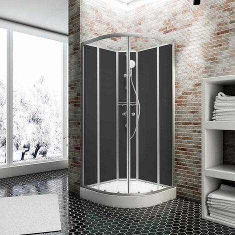 Cabine de douche intégrale Verona, 90 x 90 cm, cabine de douche complète Schulte avec porte coulissante, parois fixes, receveur, panneaux muraux et robinetterie - Transparent