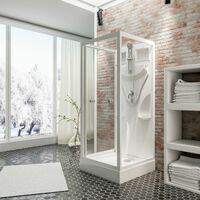 Cabine de douche intégrale, verre de sécurité 5 mm, cabine de douche complète, blanc alpin, Juist, Schulte, dimensions au choix
