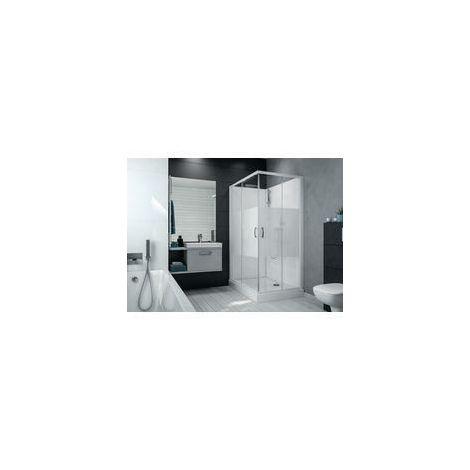 Cabine de douche IZI BOX 2 rectangulaire 120 x 80 cm en angle portes coulissantes en verre serigraphie, Ref. L11IZBC12801
