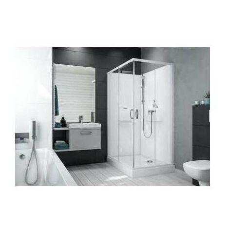 Cabine de douche IZIBOX rectangle 100x80cm, installation en angle, �quipement Confort, avec mitigeur, portes coulissante