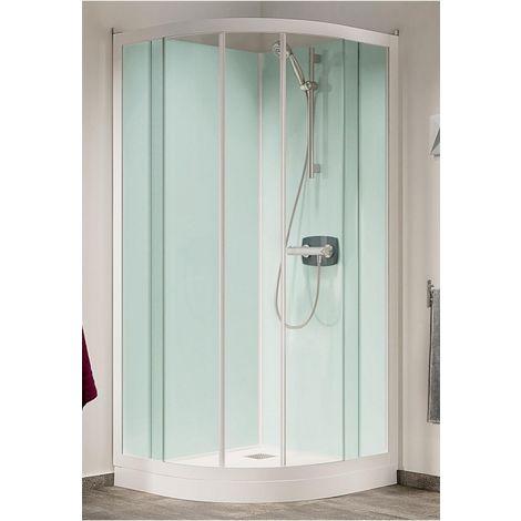 Cabine de douche Kineprime Glass (18 cm) - Coulissante - 1/4 de Rond 80cm - Thermo