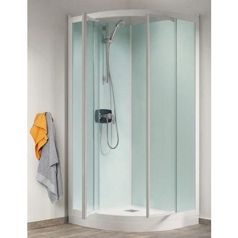 Cabine de douche Kineprime Glass (18 cm) - Pivotante - 1/4 de Rond 80cm