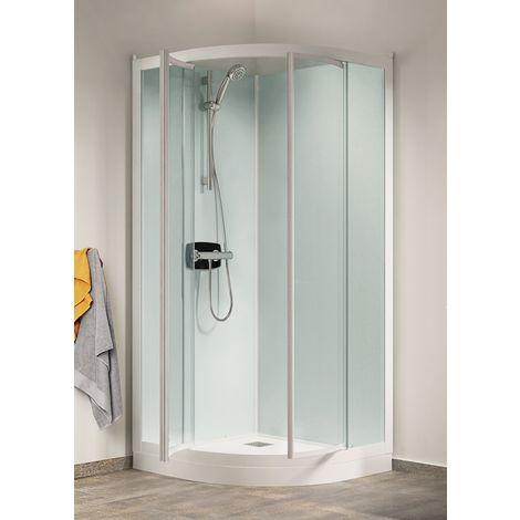 Cabine de douche Kineprime Glass (18 cm) - Pivotante - 1/4 de Rond 80cm - Thermo