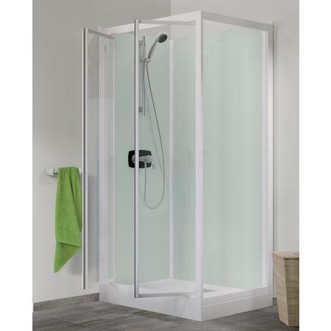 Cabine de douche Kineprime Glass faible hauteur - 2 Portes Pivotantes - 100x80 cm - Thermostatique