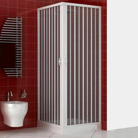 Cabine de douche Luna en PVC avec ouverture d'angle à soufflet
