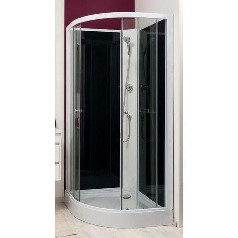 Cabine de douche non hydromassante grise 1/4 cercle 80x80 cm Gena sans silicone Degeo - Gris