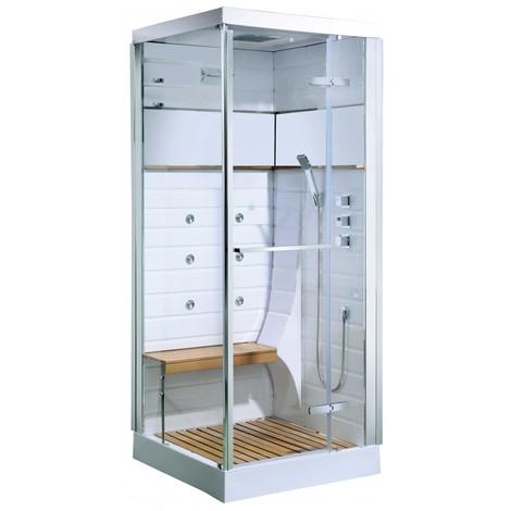 Cabine de douche Osaka avec porte pivotante Blanc