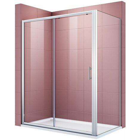 Cabine de douche porte fixe et porte latérale 150x80x185 cm verre trempé 5mm cadre en aluminium porte coulissante extensible installation réversible