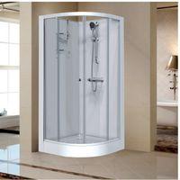 Cabine de douche quart de rond portes coulissantes transparentes - 90 x 90 cm - Izi Glass - Leda