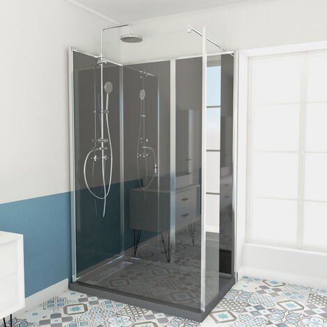 Cabine de douche rectangle 120 x 80cm receveur bas - GREY GLASSY LOW
