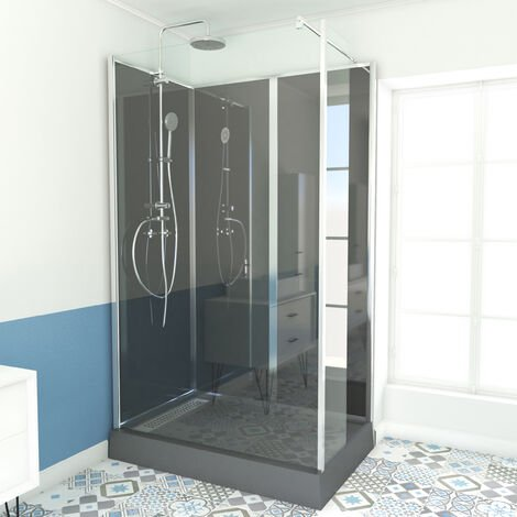 Cabine de douche rectangle 120 x 80cm RECEVEUR HAUT - GREY GLASSY HIGH
