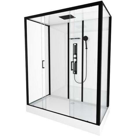Cabine de douche rectangle 160x85x215cm -blanche avec profilé noir mat - FACTORY XXL