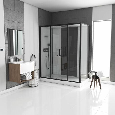 Cabine de douche rectangle 170x90cm - blanche avec profilé noir mat à receveur extra plat ou haut - INFINITY