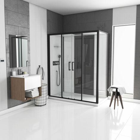 """main image of """"Cabine de douche rectangle 170x90cm - blanche avec profilé noir mat à receveur extra plat ou haut - INFINITY"""""""