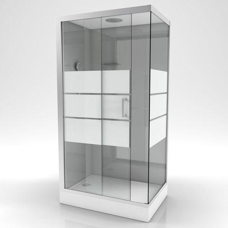 Cabine de douche rectangulaire à bandes laquées Gris